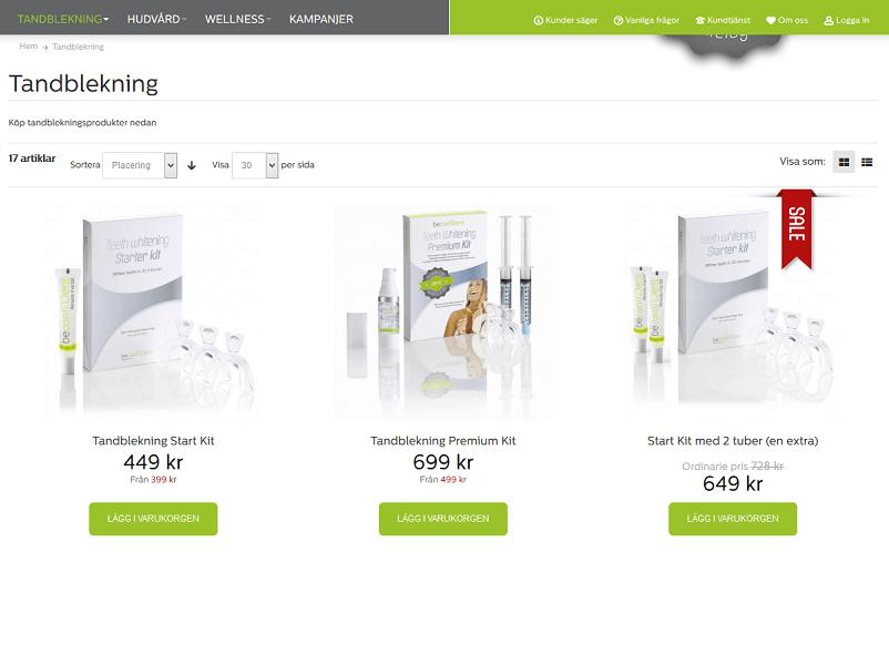 Beconfident tandblekningsprodukter